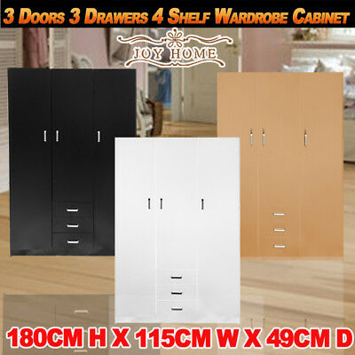 AU286.69 • Buy 3 Doors 3 Drawers 4 Shelf Wardrobe Cabinet Unit Bedroom Clothe Storage Organizer