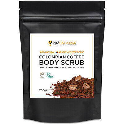 PraNaturals Colombian Coffee Beans Natural Body Scrub Anti-Cellulite Detox 200g • 5.99£