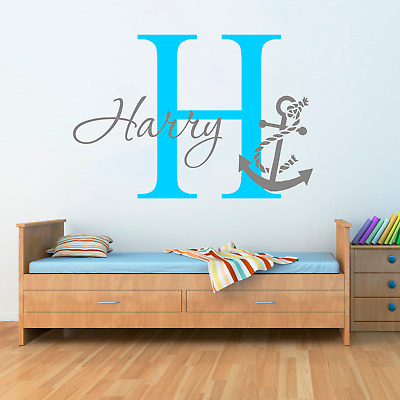 Personalised Name Anchor Nautical Wall Sticker Two Tone Art Boys Childs Nursery • 11.99£