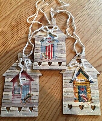 £6.99 • Buy 3 Nautical Beach Hut Hanging Decorations Shabby Chic Hand Painted Ducal Neutral