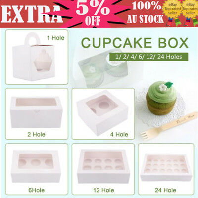 AU11.99 • Buy 1/2/4/6/12/24 Holes Cupcake Boxes Bomboniere Wedding Birthday Favour Gift Case