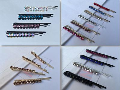 4 Crystal Diamante Barrette Bobby Pins Hair Clips Slides Grip Kids Girls Wedding • 2.28£
