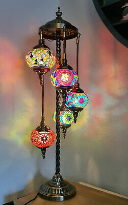 Turkish Lamp, Floor Lamp, HandMade 5 Glass Moroccan Colour Mosaic Shades & Metal • 159.99£
