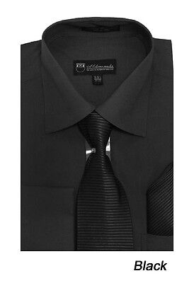 Men's French Cuff Solid Dress Shirt W/ Matching Tie And Hanky Set 27 Black • 16.33£