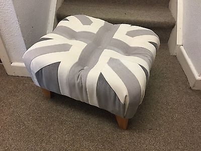 Shades Of Grey Footstool / Pouffe /small Union Jack Wood Feet British Made • 109£