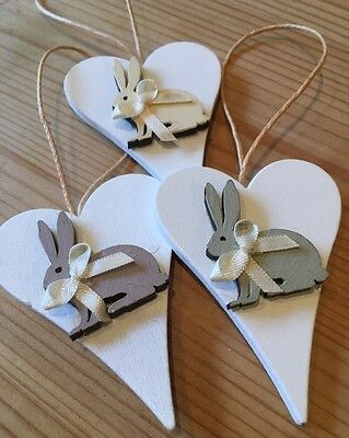 3 X Easter Bunnies Spring Hanging Decorations Handmade Real Wood Neutrals • 4.94£