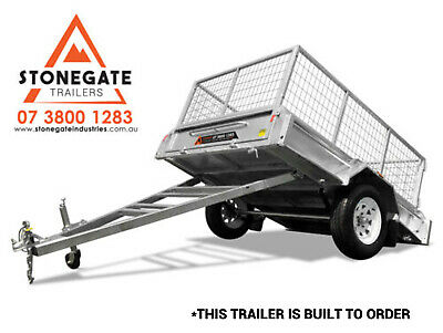 AU1739 • Buy 7x5 Caged Trailer Hot Dipped Galvanized Box Trailer Fully Welded Tipper Brisbane
