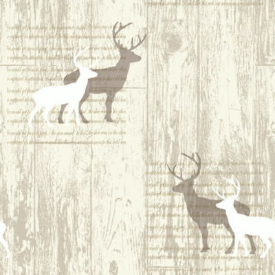 Stag Deer Wallpaper Woodland Tree Beige Natural Cream Typography Arthouse • 8.95£
