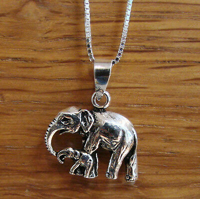 £8.97 • Buy 925 Sterling SILVER Necklace With Elephant & Baby Family Pendant UK SELLER Boxed