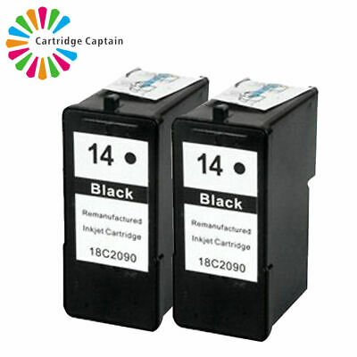 2 Black Non-OEM Replace For Lexmark X2600 X2620 Black Ink Cartridge No 14 • 14.50£