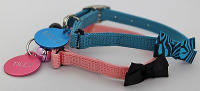 Cat / Kitten Bow Tie Safety Collar & Optional Engraved  Id Tag ! • 3.99£