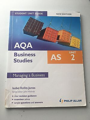AQA AS Business Studies Student Unit Guide: Unit 2 Managing A Business By Isobel • 4£