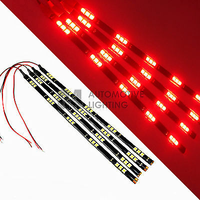 $12.99 • Buy 4x Red 12  Flexible LED Strip Light 15 SMD 5050 Waterproof For Car Truck Boat