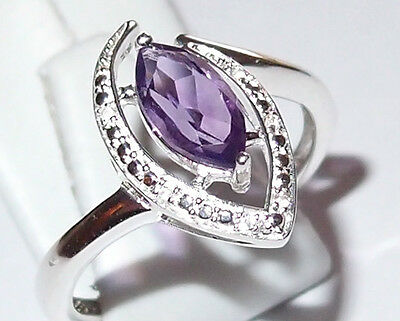 Amethyst Marquis With White Topaz Accents, 1.0ct, In Sterling Silver, Size Q. • 12.99£