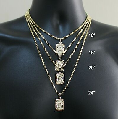 $8.98 • Buy Womens Mens Gold Filled A-Z Initial Necklace Letter Pendant Box Chain Unisex
