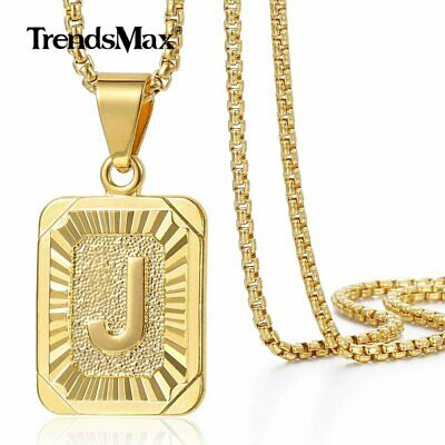 $7.19 • Buy Womens Mens Gold Filled A-Z Initial Necklace Letter Pendant Box Chain Unisex