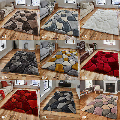 Large Thick Soft 3d Textured Pile Pebble Stepping Stones Noble House Rug Nh 5858 • 99£