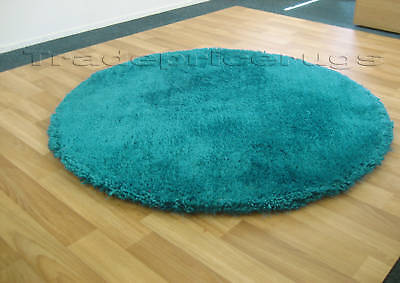 £79.79 • Buy LARGE THICK SOFT ROUND SHAGGY RUG TURQUOISE BLUE 135cm