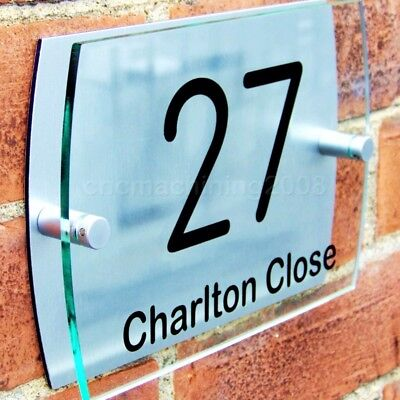 House Door Number Plaque Gate Wall Sign Name Plate Glass Acrylic Aluminium • 9.95£
