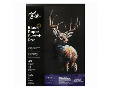 £10.88 • Buy Mont Marte Sketch Pad A3 Black Paper 25 Sheet 140 Gsm Draw Pastels Charcoal Book