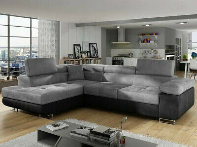 Corner Sofa Bed ANTON With Storage Container And Sleep Function New • 665£