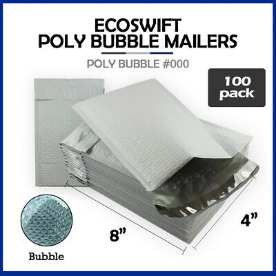 $13.88 • Buy 100 #000 4x8  EcoSwift  Brand Poly Bubble Mailers Small Padded Envelope 4  X 8