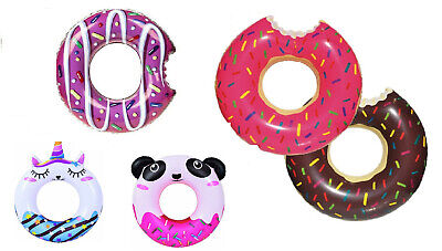 £4.99 • Buy Inflatable DONUT Swim Ring Kids Adults Swimming Pool Holiday Summer Garden Play