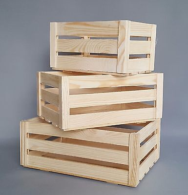 Wooden Crates Boxes Storage Craft Decoupage Plain Wood Box 4 Sizes Chest Crate • 6.99£