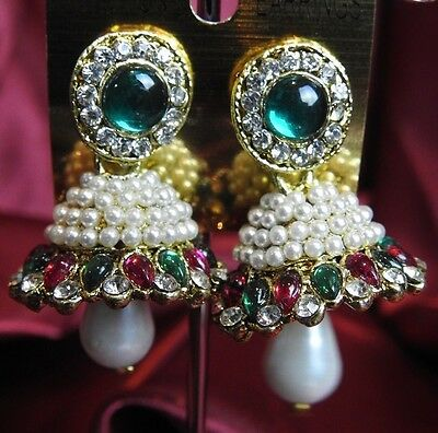 AU14.90 • Buy NEW Bollywood Gimmiki Indian White Pearl Earrings Gold Jhumka Green Purple M25