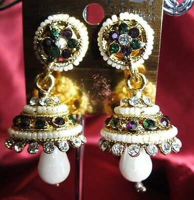 AU14.90 • Buy NEW Bollywood Gimmiki Indian White Pearl Earrings Gold Jhumka Green Purple M29