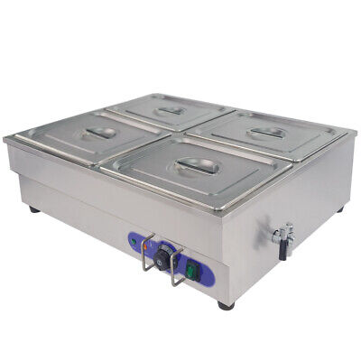 £135.20 • Buy Stainless Steel Food Warmer Commercial Electric Bain Marie With 4 Pan & Lids 1/2