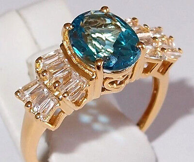Electric Swiss Blue & White Topaz Ring In Gold Overlay Sterling Silver, Size S. • 38.99£