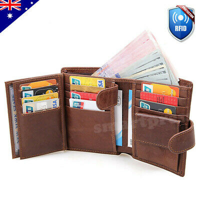 AU35.95 • Buy RFID Blocking Genuine Leather Wallet Slim Mens Purse Trifold Credit Card Holder