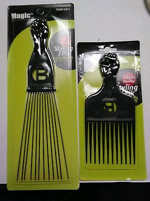 $11.99 • Buy 2 Pro Grade Magic High Quality Hair Afro Picks Styling Metal Pik Lg & Sm