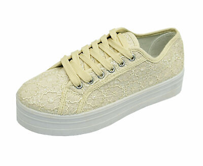 Womens Beige Lace Platform Skater Casual Wedge Pumps Trainers Shoes Sizes 3-8 • 9.99£