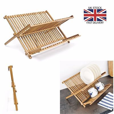 £13.99 • Buy 2 Tier Wooden Kitchen Dish Drainer Plates Rack Glass Cutlery Holder Foldable