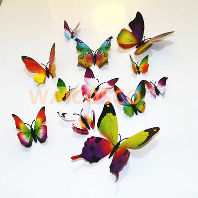 £2.99 • Buy 12pcs MAG 3D Butterfly Decal Wall Stickers Home DIY Art Decor Children Room Uk