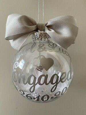 Engagement Personalised Bauble Keepsake Present Gift Choose Colour And Filling • 7.50£