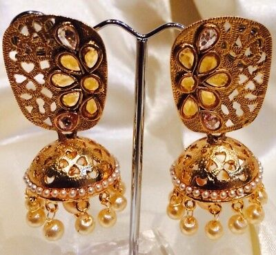 AU19 • Buy Bollywood Gimmiki Indian Designer Earrings Gold Pearls Jhumka White F49
