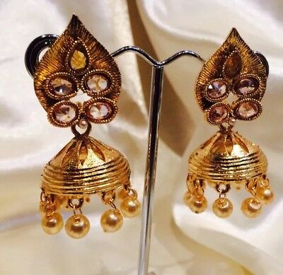 AU19 • Buy Bollywood Gimmiki Indian Designer Earrings Gold Pearls Jhumka White F50