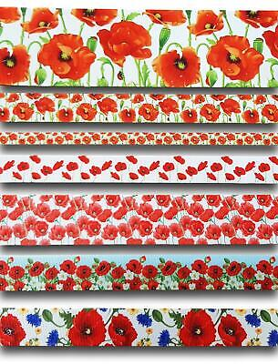 £2.44 • Buy Poppy Poppies Flower Remembrance Floral Red Green 1 Yard Ribbon Up To 30% Off UK