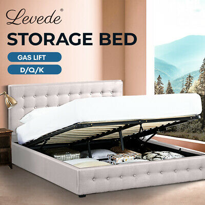 AU329.99 • Buy Levede Bed Frame Base With Gas Lift Storage King Queen Double Platform Fabric