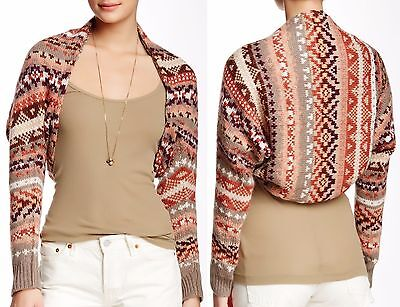 £35.35 • Buy Free People Taupe Combo Carnival Shrug Sweater W/Lace Lining - MSRP $108
