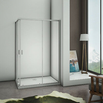 Corner Entry Double Sliding Doors Walk In Shower Enclosure Glass Screen Cubicle • 88.99£