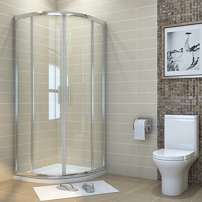 Quadrant Walk In Shower Enclosure Cubicle And Tray Free Waste Corner Glass Door • 216.99£