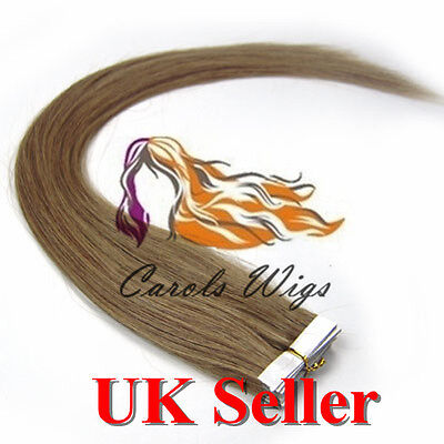 8A* Best Quality 18'' Tape-In Lightest Brown Russian Remy Human Hair Extensions • 23.99£