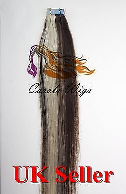 8A* Tape Skin 18'' Medium Brown Mix Blonde Russian Remy Human Hair Extensions UK • 23.99£