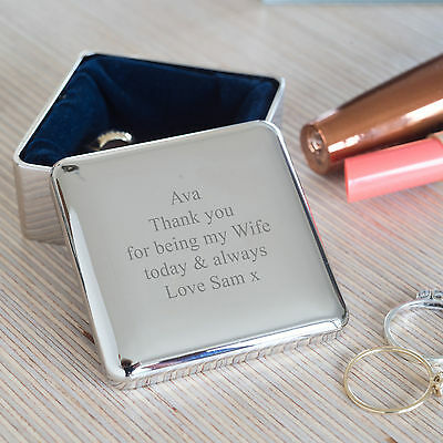 Personalised Square Trinket Box, Engraved Polished Jewellery Box,  (OHSO770) • 26£