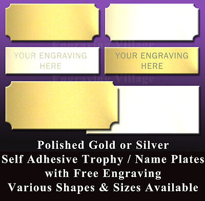 Engraved Trophy Plate / Metal Name Plaque / Sports Award / Picture Frame / Label • 2.62£