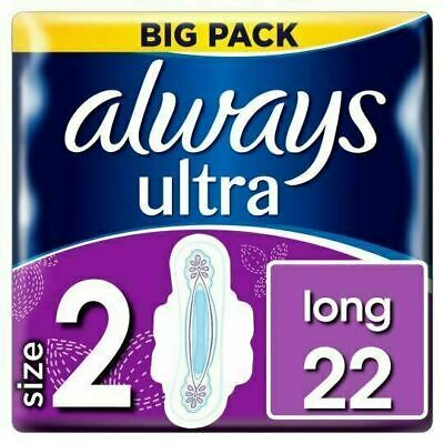 £5.96 • Buy Always Ultra Long Sanitary Towels Pads Size 2 Wings Womens Absorbent Pack Of 22